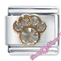 Picture of Paw Print April Birthstone Italian Charm