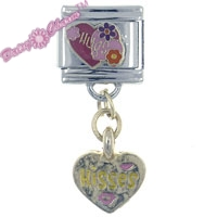 Picture of Hugs & Kisses Dangle Italian Charm