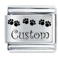 Picture of Row of Paw Prints Custom Made ETCHED Italian Charm